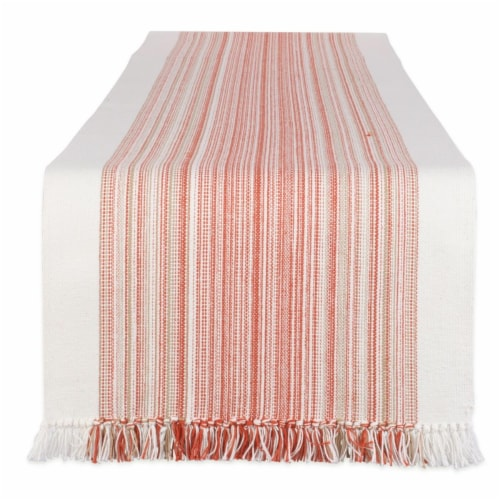 Design Imports CAMZ11697 14 x 72 in. Pimento Striped Fringed Table Runner Perspective: front