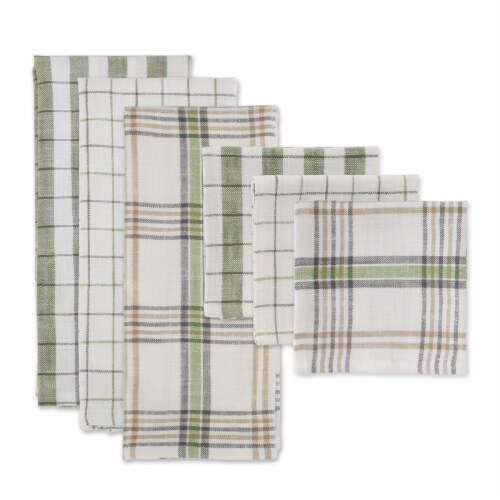 Dii Fresh Herbs Kitchen Textiles, Dishtowels & Dishcloths, Green House, 6 Pieces Perspective: front
