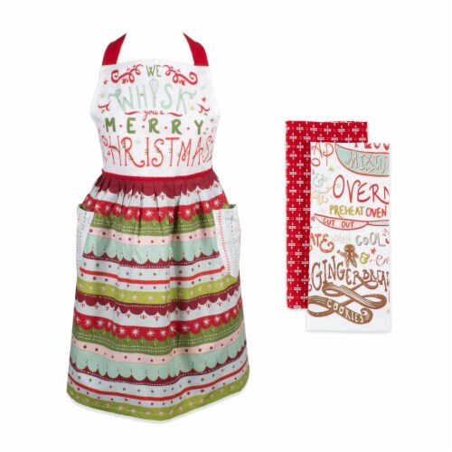Design Imports CAMZ11737 We Whisk You A Merry Christmas Apron - Set of 3 Perspective: front