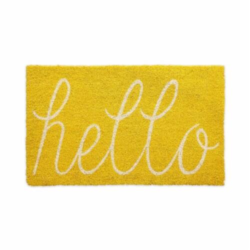 DII Yellow Hello Doormat Perspective: front