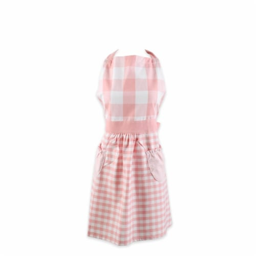 Design Imports CAMZ11740 Pink & White Gingham Apron Perspective: front