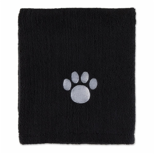 Bone Dry Black Embroidered Paw Pet Towel Perspective: front