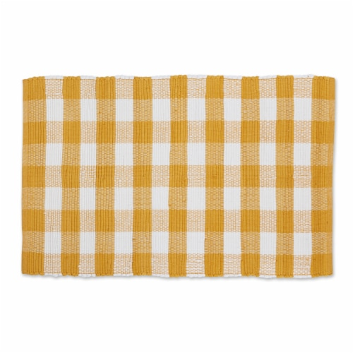 Dii Honey Gold & White Buffalo Check Rag Rug 26X40 Inch Perspective: front