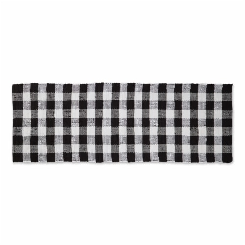 Dii Black & White Buffalo Check Rag Rug 2Ft 3Inx6Ft Perspective: front
