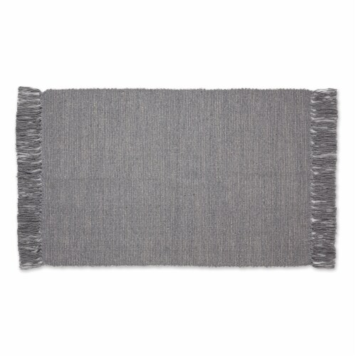 Dii Gray And Off White 2-Tone Ribbed Rug 2X3 Ft Perspective: front