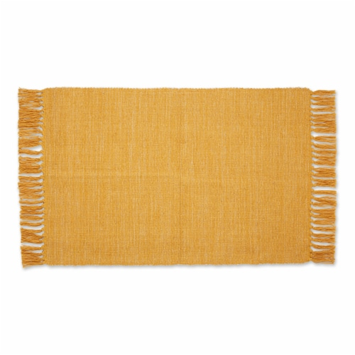 Dii Honey Gold And Off White 2-Tone Ribbed Rug 2X3 Ft Perspective: front