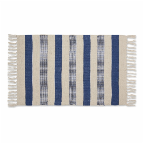 Dii French Blue Combo Stripe Hand-Loomed Rug 2X3 Ft Perspective: front