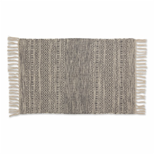 Dii Gray Textured Dobby Hand-Loomed Rug 2X3 Ft Perspective: front