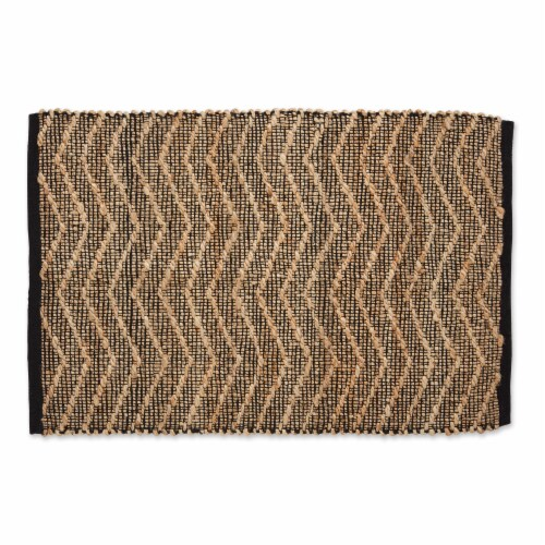 Dii Black With Natural Jute Chevron Hand-Loomed Rug Perspective: front