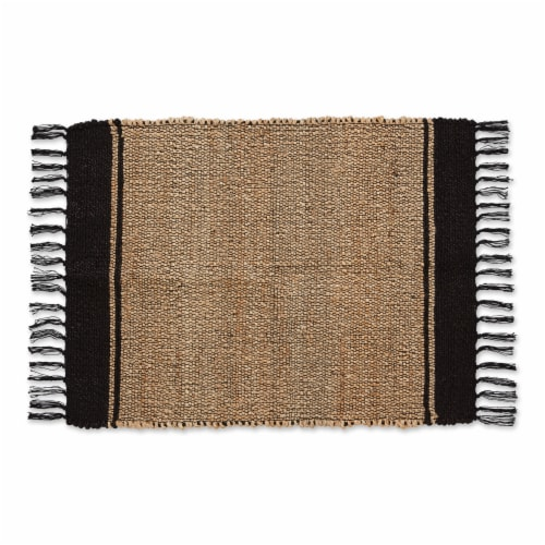 Dii Black With Natural Jute Stripes Hand-Loomed Rug Perspective: front