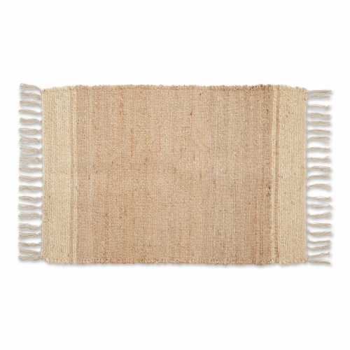 Dii Off White With Natural Jute Stripes Hand-Loomed Rug Perspective: front