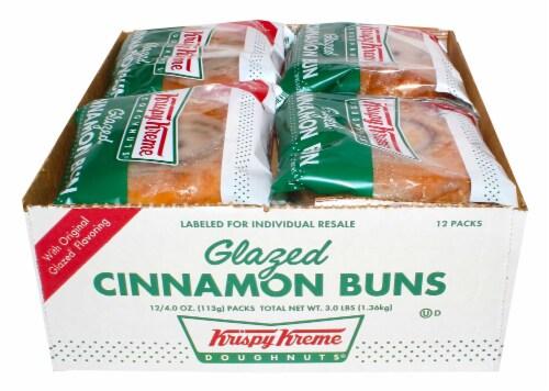 Krispy Kreme Glazed Cinnamon Bun, 4 Ounce -- 12 per case. Perspective: front