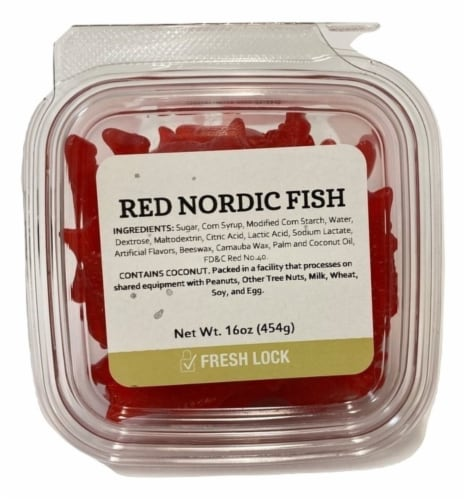 Torn & Glasser Red Nordic Gummi Fish Perspective: front