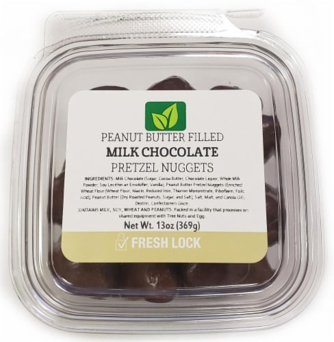 Torn & Glasser Peanut Butter Filled Milk Chocolate Pretzel Nuggets Perspective: front