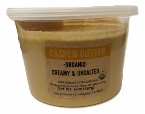 Torn & Glasser Organic Creamy & Unsalted Cashew Butter Perspective: front