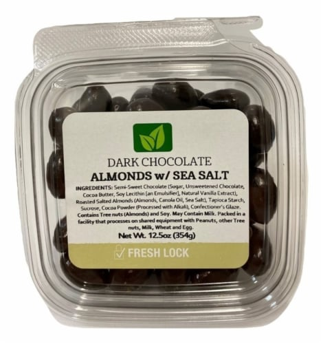 Torn & Glasser Dark Chocolate Almonds with Sea Salt Perspective: front