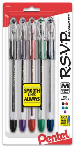Pentel R.S.V.P. Medium Assorted Ink Ballpoint Pens Perspective: front