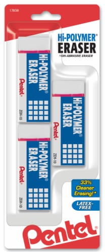 Pentel Hi-Polymer Erasers - White Perspective: front