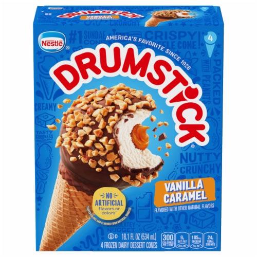 Drumstick Vanilla Caramel Frozen Dairy Dessert Cones Perspective: front