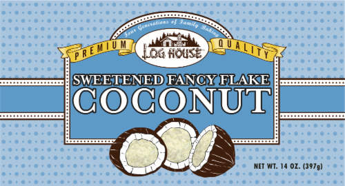Log House Sweetened Fancy Coconut Flakes Perspective: front