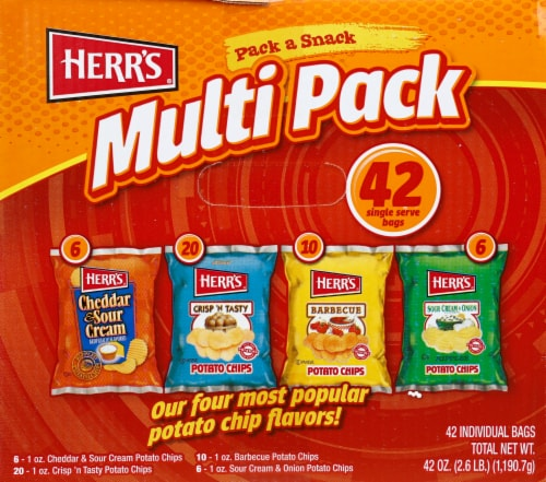 Herr's Pack a Snack Potato Chip Multi Pack Bags Perspective: front