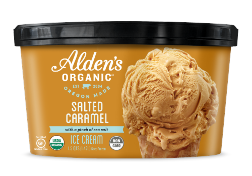 Alden's Organic Salted Caramel Ice Cream Perspective: front