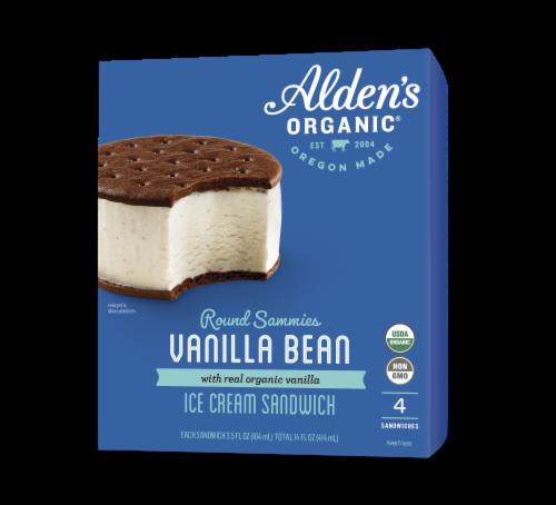 Alden's Organic Vanilla Bean Ice Cream Sandwiches Perspective: front