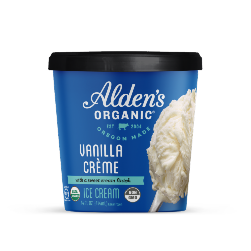 Alden's Organic Vanilla Creme Ice Cream Perspective: front