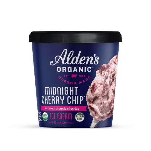 Alden's Organic Midnight Cherry Chip Ice Cream Perspective: front