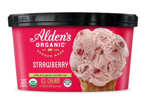 Alden's Organic Strawberry Ice Cream Perspective: front