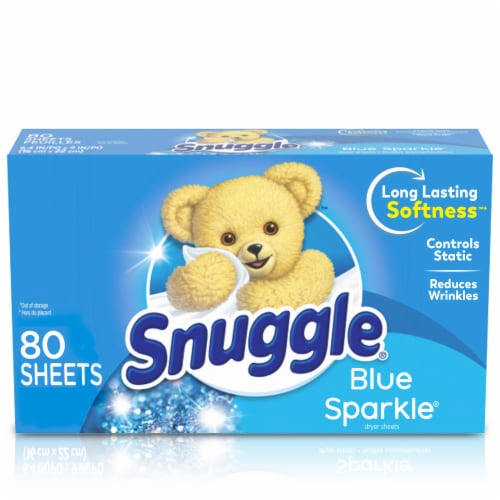 Snuggle Blue Sparkle Fabric Softener Dryer Sheets Perspective: front