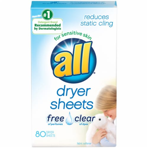 All Free Clear Dryer Sheets Perspective: front