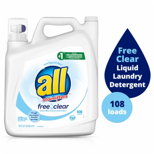 All with Stainlifters Free Clear Liquid Laundry Detergent Perspective: front