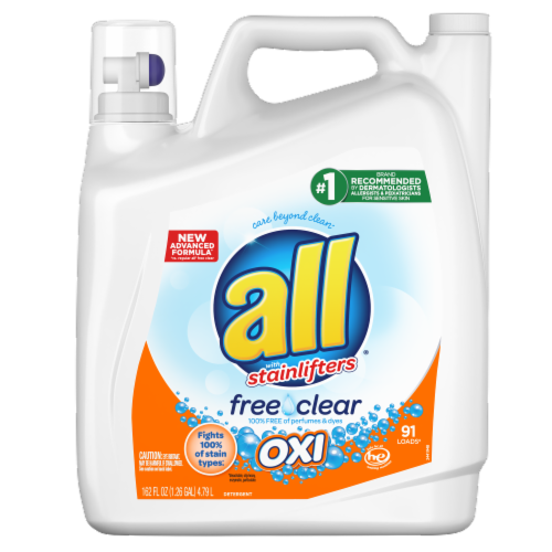 All with Stainlifters Free Clear Oxi Liquid Laundry Detergent Perspective: front
