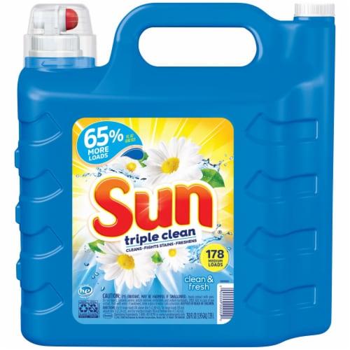 Sun Triple Clean Clean & Fresh Scent Liquid Laundry Detergent Perspective: front