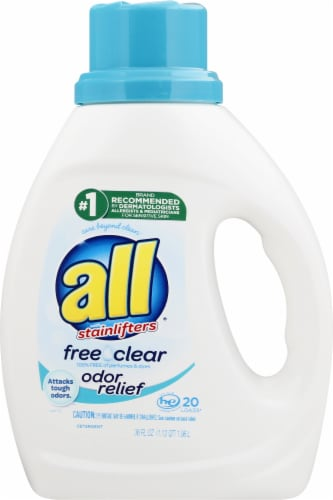 All with Stainlifters Free Clear Odor Relief Liquid Laundry Detergent Perspective: front