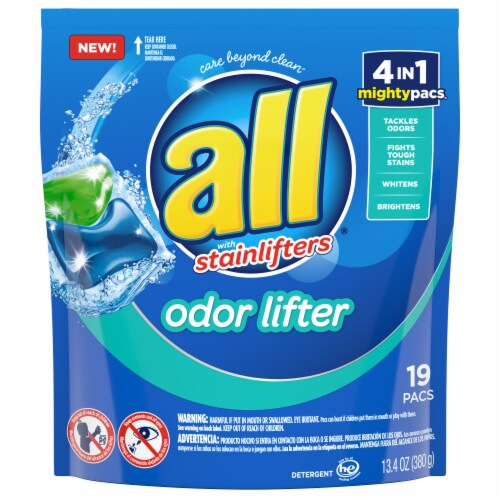 All with Stainlifters Odor Lifter Laundry Detergent Mighty Pacs Perspective: front