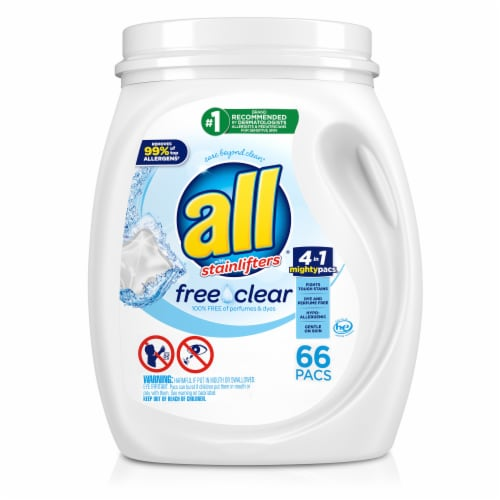 All with Stainlifters Free Clear Mighty Pacs Laundry Detergent 66 Count Perspective: front