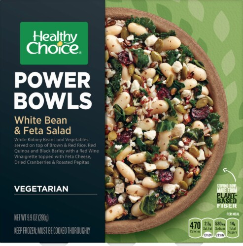 Healthy Choice Power Bowls White Bean & Feta Salad Frozen Meal Perspective: front