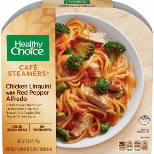 Healthy Choice Cafe Steamers Chicken Linguini with Red Pepper Alfredo Perspective: front