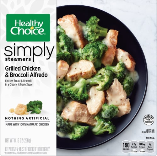 Healthy Choice Simply Steamers Grilled Chicken & Broccoli Alfredo Frozen Meal Perspective: front