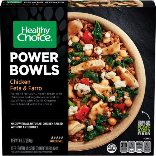 Healthy Choice Power Bowls Chicken Feta & Farro Frozen Meal Perspective: front