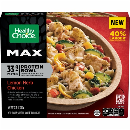 Healthy Choice Max Lemon Herb Chicken Frozen Protein Bowl Perspective: front