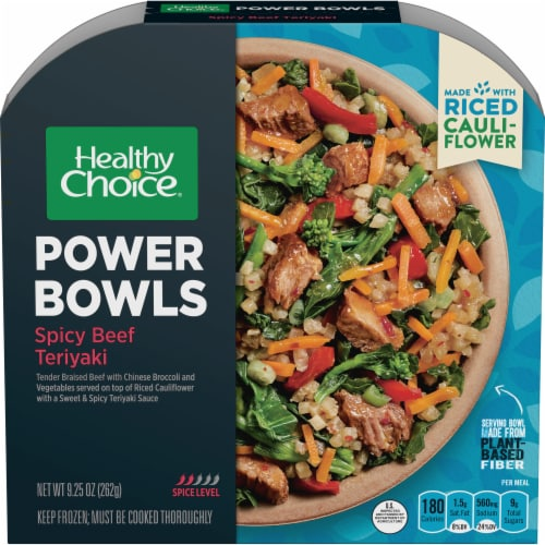 Healthy Choice Power Bowl Spicy Beef Teriyaki and Riced Cauliflower Frozen Meal Perspective: front