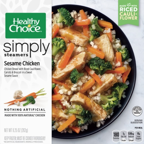 Healthy Choice Simply Steamers Sesame Chicken Frozen Meal Perspective: front