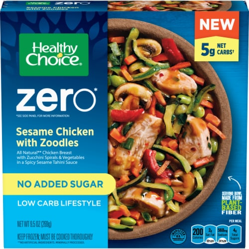 Healthy Choice Zero Sesame Chicken with Zoodles Low Carb Frozen Meal Perspective: front
