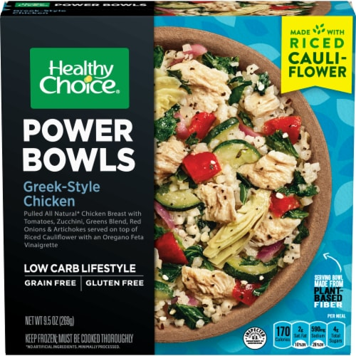 Healthy Choice Power Bowls Greek-Style Chicken with Riced Cauliflower Frozen Meal Perspective: front