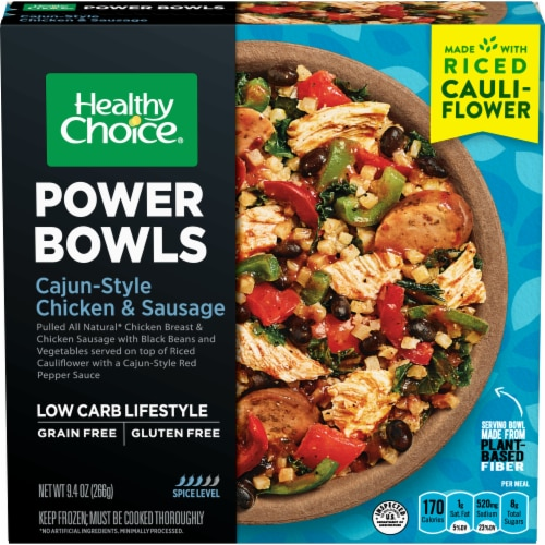 Healthy Choice Power Bowls Cajun-Style Chicken and Sausage with Riced Cauliflower Frozen Meal Perspective: front