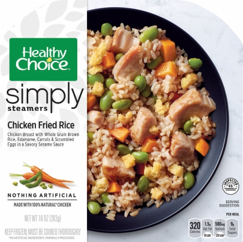 Healthy Choice Cafe Simply Steamers Chicken Fried Rice Frozen Meal Perspective: front