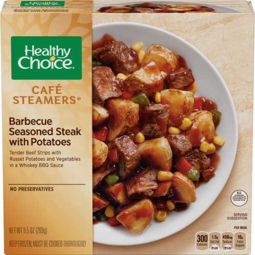 Healthy Choice Cafe Steamers Barbecue Seasoned Steak with Potatoes Perspective: front